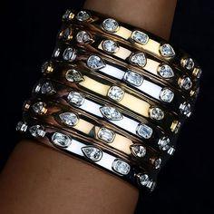 Stack these Fancy Shape Bezel Set #Diamond #Bracelets for a bold chic look. #WilliamGoldberg #HighJewelry #DiamondBracelet by williamgoldbergdiamonds