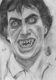 David Naughton as David Kessler in 'An American Werewolf in London'.  Freehand sketch using HB pencil and eraser. Darkened digitally.