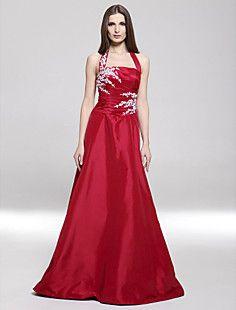 A-line Halter Floor-length Taffeta Evening/ Prom Dress – USD $ 199.99