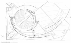 Capilla del Espíritu Santo,Planta General Auditorium Plan, Auditorium Architecture, Theatre Architecture, Auditorium Design, Architecture Drawings, Architecture Plan, Exterior Wall Design, Circular Buildings, Building Skin