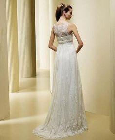 Buy A-Line Scoop Lace Sweep Train Wedding Dress-HuLu
