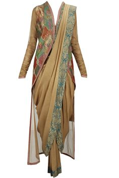 Burnished gold dhoti sari with churidaar and applique high-low blouse available…