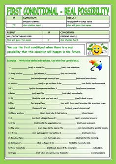 First conditional Language: English Grade/level: elementary School subject: English as a Second Language (ESL) Main content: First conditional Other contents: conditionals, conditional sentences Teaching English Grammar, English Grammar Worksheets, English Verbs, Grammar And Vocabulary, Grammar Lessons, English Vocabulary, Grammar Practice, English Tips, English Lessons