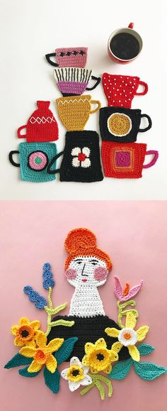Crochet art by Tuija Heikkinen // crochet // fiber art // embroidery illustration Faser Kunst Crochet Art Arranged Into Charming Assemblages by Tuija Heikkinen Manta Crochet, Freeform Crochet, Crochet Art, Crochet Home, Love Crochet, Crochet Motif, Crochet Stitches, Crochet Patterns, Knitting Patterns