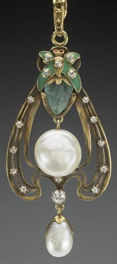 An Art Nouveau gold, pearl, glass, diamond, enamel and ruby pendant, by Gorham Manufacturing Company, American, circa 1900.