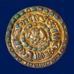 (Russia) Sarmatian Gold Roundel with a horned animal, lions, and griffins. ca 3rd to1st century BCE. Eurasian steppes. Scythia Gold. Russia.