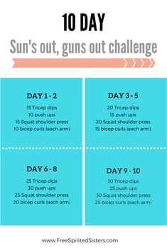 Alright, folks, the sun is out in Oz and it's trying hard in Cali, so let's get those Madonna arms happening with this sun's out, guns out challenge. Workout Challange, Arm Workout Challenge, 15 Day Challenge, 10 Day Workouts, Abs Workout Routines, Workout Schedule, Monthly Workouts, Workout Calendar, Workout Plans