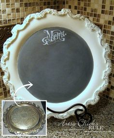 Such a cool idea! Old Tray Turned Chalkboard Menu - thrifty finds made over with Chalk Paint! Super easy with old thrifty trays! Upcycled Crafts, Repurposed, Diy And Crafts, Upcycled Home Decor, Upcycled Clothing, Do It Yourself Vintage, Decoration Palette, Home Decoracion, Chalk Paint Projects