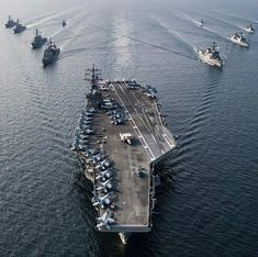 USS Ronald Reagan and USS John C. Uss Ronald Reagan, Military Guns, Aircraft Carrier, Us Navy, Air Force, Instagram, Ships, Surface, War