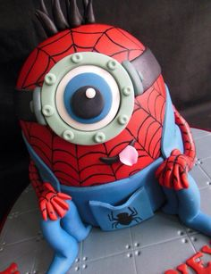 Minion Spider-Man cake - I guess even Minions dress up for Halloween.
