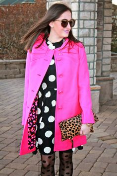 Wake Up Your Wardrobe What I Wore: Whimsy Kate Spade Etta Coat, Pink Coat, Polka Dot Dress, Polkadot Tights, Rock Stud Heels, Clare Vivier Clutch, Karen Walker Super Duper Sunglasses, MAC Up the Amp
