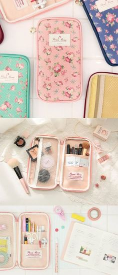 Looking for a new way to carry around your cosmetics? With beautiful floral designs, the Pour Vous Multi Pouch is the loveliest pouch for all your things! The pockets inside will hold your makeup & brushes and even travel sized skincare! Never go digging through your purse for stray makeup again. Not a makeup lover? Use it to carry your planner supplies like stickers, pens, and tools! Whatever you like to do, wherever you like to go, always be prepared with a carry all pouch that's here for