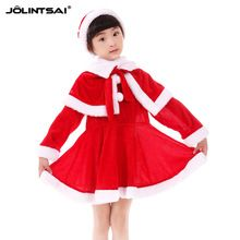 2016 Dresses For Girls New Baby Girl Clothes Hat Dress Shawl 3Pcs Set Christmas Costumes For Girls Red Cashmere Christmas Dress(China (Mainland))