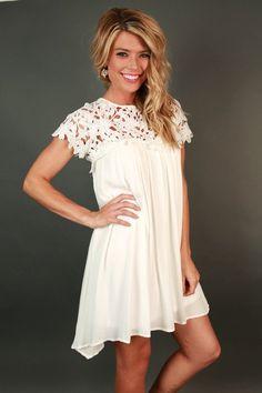 Croquet & Crochet Babydoll Dress in White