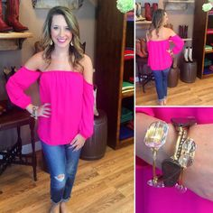 This hot pink off the shoulder top goes amazing with our favorite boyfriend jeans!!