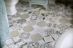 Grey country cottage style bathroom floor tiles from Utopia Bathrooms. Bathroom Tile Designs, Bathroom Trends, Bathroom Floor Tiles, Tile Floor, Bathroom Inspo, Bathroom Ideas, Industrial Interiors, Industrial Bathroom, Modern Bathroom