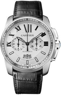 Sale Priced Cartier Calibre de Cartier Chronograph Mens Automatic Model W7100046 - Black Leather Strap with Alligator Pattern with Deployment
