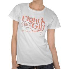 Uterine Cancer Fight Like A Girl Elegant T Shirt
