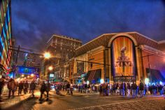 Downtown Indianapolis comes alive on the night before Super Bowl XLVI in this HDR photo taken just outside Harry and Izzy's and St. Elmo Steak House.