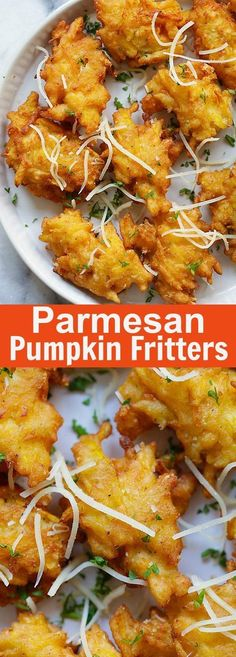 Crazy delicious pumpkin fritters recipe with Parmesan cheese. Easy, fail-proof a… Crazy delicious pumpkin fritters recipe with Parmesan cheese. Fall Recipes, Easy Dinner Recipes, Easy Meals, Pumpkin Fritters, Squash Fritters, Fingers Food, Recipes With Parmesan Cheese, Savory Pumpkin Recipes, Vegetarian