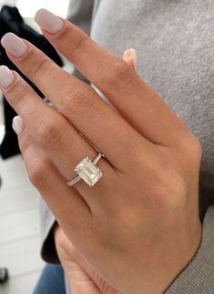2.95 Carat Diamond Engagement Ring, 14k gold, Emerald cut Engagement Ring, Pave Engagement Ring ,Diamond Ring, Free Shipping
