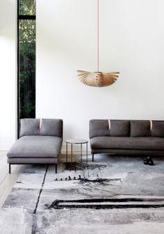sofa, unusual way of attaching the cushions.  Nice slip platform.