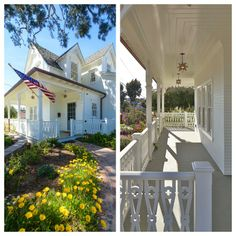 Wrap-around porch with custom flat-sawn banisters and decorative trim at the Napa Farmhouse in Manhattan Beach #Napa #farmhouse #ManhattanBeach #newoldhouse #realestate
