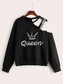 To find out about the Crown & Letter Print Tape Asymmetrical Neck Sweatshirt at SHEIN, part of our latest Sweatshirts ready to shop online today! Girls Fashion Clothes, Teen Fashion Outfits, Edgy Outfits, Mode Outfits, Cute Casual Outfits, Outfits For Teens, Grunge Outfits, Stylish Hoodies, Crop Top Outfits