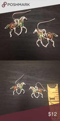 """HORSE EARRINGS New; never worn; faux silver; painted colors; approximately 1"""" hang Jewelry Earrings"""