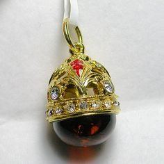 Faberge Egg Pendant in Amber   - Faberge Eggs - Beautiful Faberge egg pendant with amber.