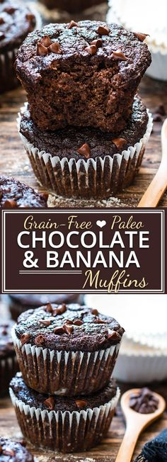 BREAKFAST TREAT - Paleo Chocolate Banana Muffins - healthy enough to eat for breakfast! They're made with coconut flour, almond flour and sweetened with pure maple syrup for a grain-free, gluten-free, dairy-free and refined sugar-free muffin recipe. Paleo Dessert, Healthy Baking, Healthy Desserts, Dessert Recipes, Diabetic Snacks, Appetizer Dessert, Diet Snacks, Muffins Sans Gluten, Sugar Free Muffins