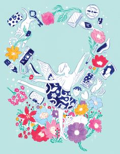 onnnanokoga_illust Illustration Art Drawing, Illustrations, Spring Design, Color Studies, Sketchbook Inspiration, Graphic Design Posters, Cute Drawings, Creative Art, Painting & Drawing