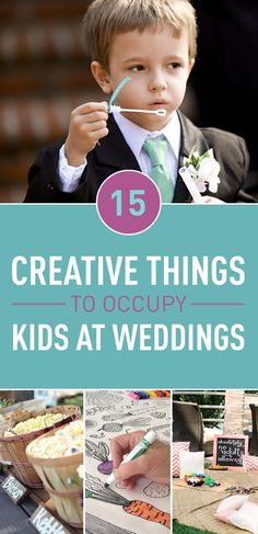 Keeping the kids from getting bored at weddings is possibly one of the most difficult tasks there is in planning your wedding and one that is often overlooked. You can help out the Moms and Dads coming to your wedding by making fun activities for kids to do providing games or even just set up somewhere they can watch movies all day.
