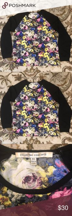Collective Concepts Floral Baseball Tee Excellent see condition. Only worn a couple of times! Collective Concepts Tops Tees - Long Sleeve