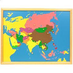 Puzle de madera con marco con diseño del continente asiático, para que los niños aprendan sus diferentes países. Cada pieza se puede manipular para extraer del puzle y volver a colocar gracias a unbotón de agarreque incluye. Este material de lametodología Montessori,es perfecto para que, en una primera etapa los niños jueguen a realizar el puzle desarrollando así la motricidad fina y la coordinación de mano y ojo. Más adelante, se enseñan a los niños de una manerasensorial, tocand...