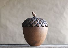 Wooden Acorn Box Tea Caddy Carved Wood Rustic Home by susantique, $65.00