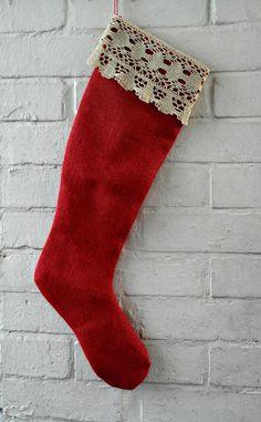 Red Burlap Stocking Hessian Stocking Holiday by HomeDecorLab
