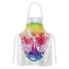 Kess InHouse Frederic Levy-Hadida 'Butterfly Skull' Rainbow Artistic Apron