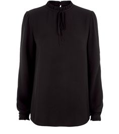 Tall Black Frill Tie Neck Long Sleeve Top    New Look