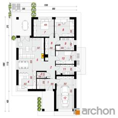 Dom w renklodach 2 Architecture Design, House Plans, Floor Plans, House Design, How To Plan, Home Layouts, Houses, Modern Interiors, Projects