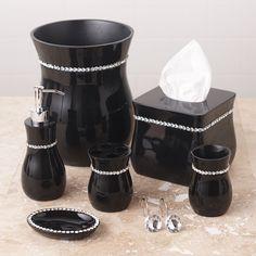 Black Rhinestone Bathroom Accessories