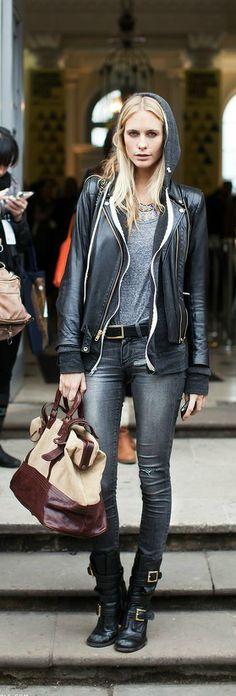 Winter uniform - skinny dark jeans, hoodie and leather jacket