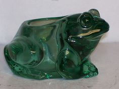 Indiana Spanish Green Glass Frog Votive Candle Holder #07138 Original Label  $5.99