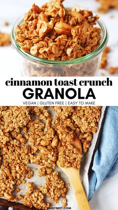 Cinnamon Toast Crunch Granola (Vegan, Gluten Free) This cinnamon toast crunch granola is reminiscent of my favorite childhood cereal. It's loaded with sweet cinnamon flavor and good-for-you ingredients. Vegan Granola, Granola Cereal, Kind Granola Recipe, Healthy Granola Recipe, Homemade Granola Recipes, Cinnamon Granola Recipe, Best Granola, Gluten Free Granola, Cereal Recipes