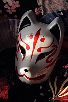 Hand-painted Full Face PVC Japanese Fox Cosplay Mask for Halloween Party Carnival
