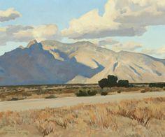 "Maynard Dixon  Ridge and Rillito, Arizona, April 1943. Oil on canvas, 18 × 22 in. """