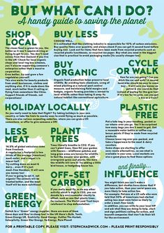 Save the Planet - Tatiana Antonenko - Save the Planet Handy little information sheet about the things you can do to reduce your carbon footprint. We all live on this gorgeous planet, let's save it! Save Planet Earth, Save Our Earth, Love The Earth, Save The Planet, Our Planet, Sustainable Living, Sustainable Clothing, Green Life, Global Warming