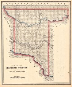 Boomers and Sooners invade Indian Territory in Oklahoma County 1830-1900.1 Native American Cherokee, Native American Tribes, Vintage Wall Art, Vintage Walls, Five Civilized Tribes, Indiana Map, Indian Territory, Historical Maps, Map Art