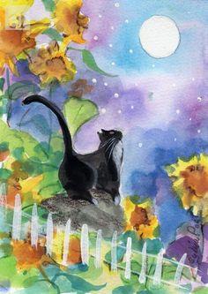 Tuxedo Cat In Moonlight With Sunflowers - 531 x 750