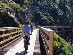 Cycling the Myra Canyon section of the Kettle Valley Railway - 10 of the best biking trips in Canada Worlds Of Fun, Around The Worlds, Western Canada, Bicycle Maintenance, Cool Bike Accessories, Hiking Trails, Bike Trails, Amazing Destinations, Outdoor Fun